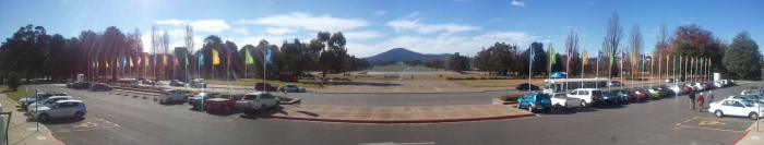 Probably my favourite view of Canberra: mountains, tent embassy, lake