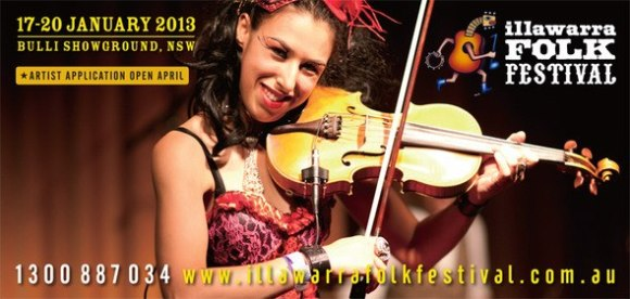 Sarah from the WooHoo Revue, appearing at the 2013 Illawarra Folk Festival