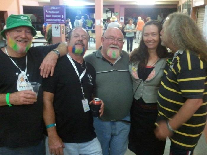 Arch Bishop (centre) at 2012 Illawarra Folk Festival with Peter 'Pearl' McLeod, Rick Saur, Rosie McDonald and Billy Arnett