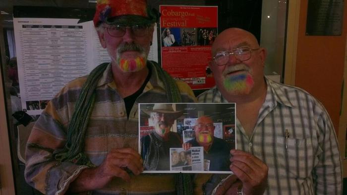 Warren 'Arch' Bishop (right) with Scott 'Feral' Sneddon at the 2013 Illawarra Folk Festival