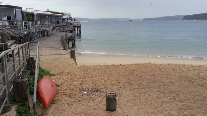 Where better to record an interview? The slightly damp shores of the beach to one side of Manly Wharf, New South Wales, Australia