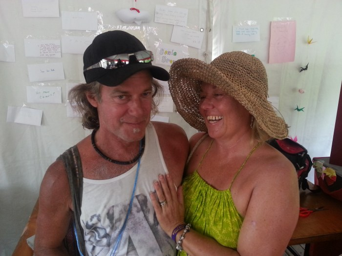 Todd and Julie in The Lettering Office, Woodford Folk Festival