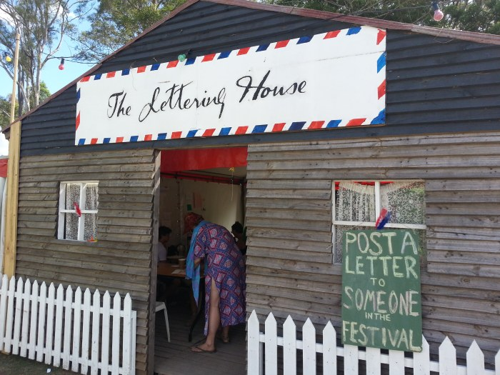 The Lettering House at Woodford Folk Festival