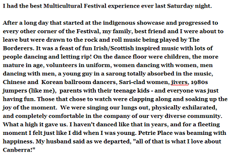 A BordererS favourite review from National Multicultural Festival 2015